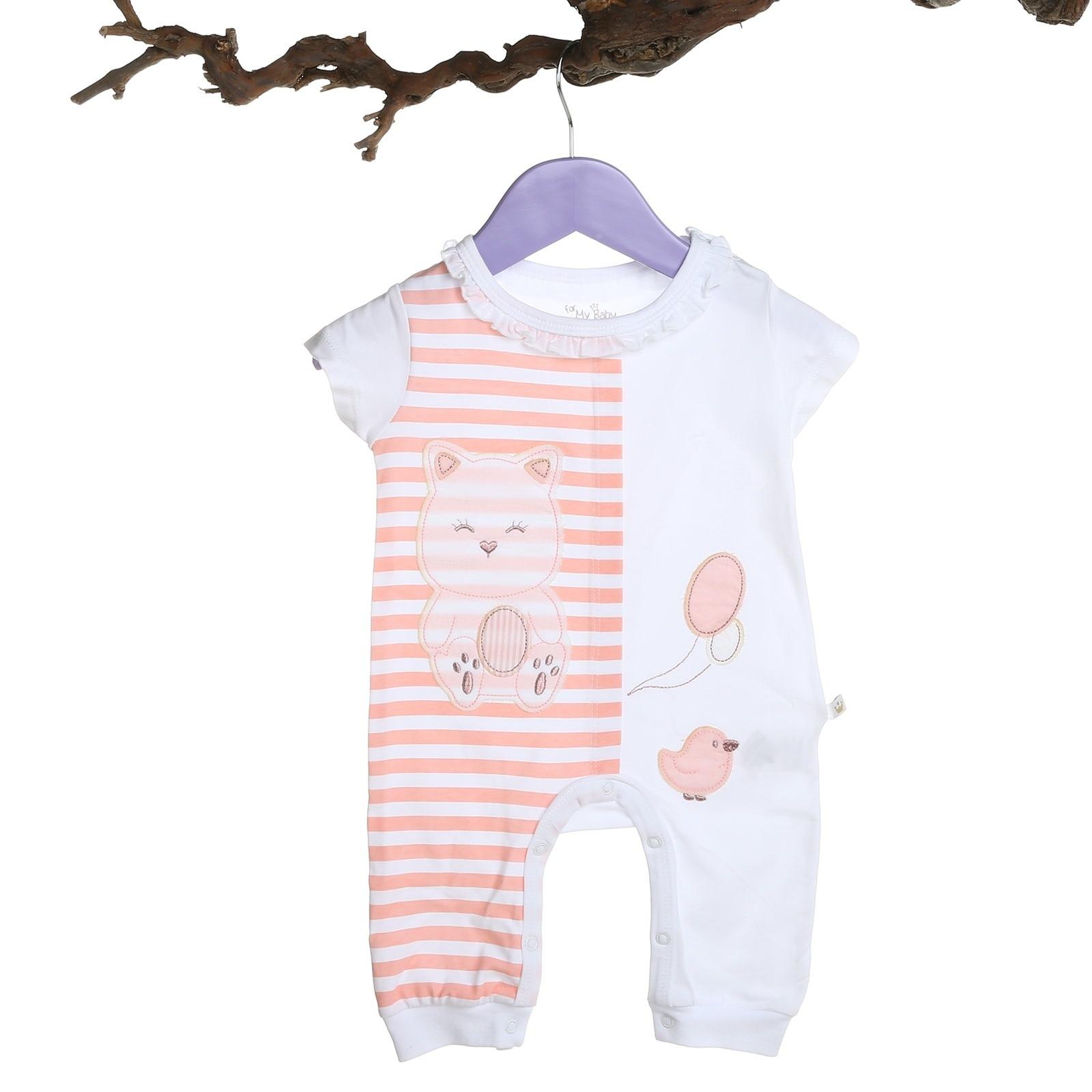 Ebebek For My Baby Girl Pink Rib Ruffle Neck Short Romper