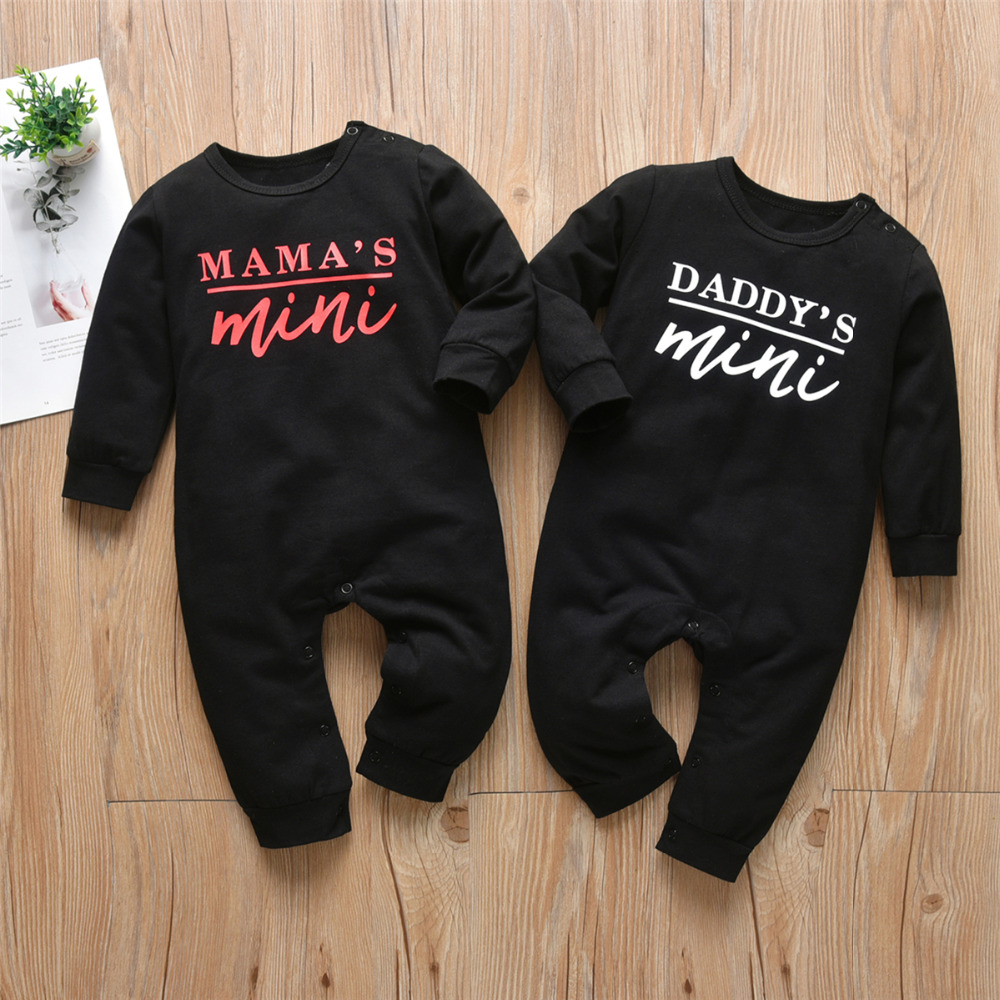 Newborn Infant Baby Boys Girls Romper Pajamas Cotton Long Sleeve Letter Daddy/Mama's Mini Jumpsuit Autumn Toddler Clothes | Happy Baby Mama