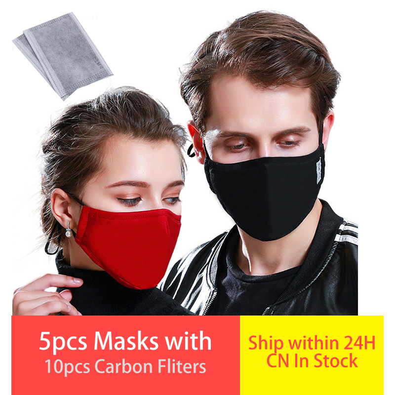 5pcs/lot Face Respirator Cotton Dust Mask Reusable Protective PM2.5 Filter Mouth Mask Anti Dust Face Mask Windproof Mouth-muffle