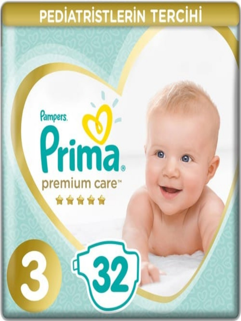 Mother, dry, comfortable, clean. Hygienic. Breathe, high-quality baby diaper baby Care diapers Pampers Premium Care 3 Size 32'li