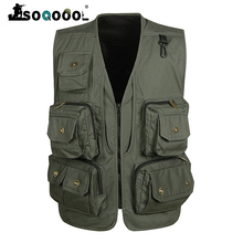 Soqoool Summer Casual Many Pockets Waistcoat Men Mesh Breathable Shooting Vest Tactical Cotton Outerwear Sleeveless Vest