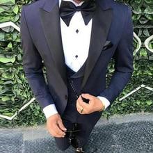 Tailor Made Navy Blue Mens 3 Pieces Wedding Suits Jacket+Pants+Vest Slim Fit Groom Suits Tuxedo Groomsmen Party Suits