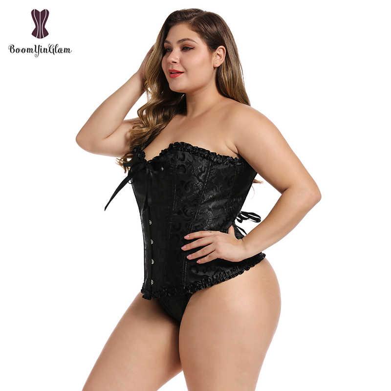 Bustier מחוך נשים סקסי גותי תחרה עד עצמות Overbust מותן מאמן פרחוני רקמת הלבשה תחתונה חוטיני למעלה מחוך בתוספת גודל