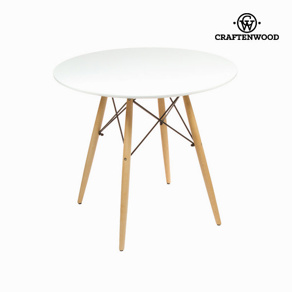 Table Mdf Beech Wood White (80 X 80 X 75 Cm) By Craftenwood