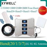 LTE B20 800/1800/2100/2600mhz 4 밴드 셀룰러 증폭기 4g 신호 부스터 2g 3g 4g DCS WCDMA LTE GSM 모바일 신호 중계기