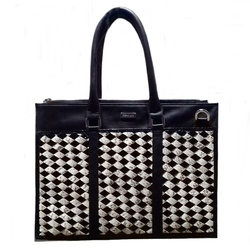 TRENCADIS. Briefcase Office, documents holder in leather and braiding snake, unisex, manufactured in Spain