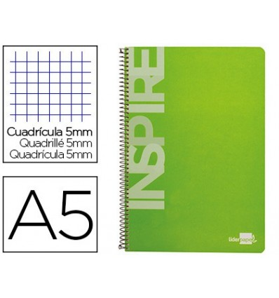 SPIRAL NOTEBOOK LEADERPAPER A5 MICRO INSPIRE HARDCOVER 160H 60 GR TABLE 5MM 5 BANDS 6 DRILLS COLOR GREEN