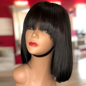 Lace Front Human Hair Wigs With Thick Bangs Fringe Wig Peruvian Hair Pre Plucked Bob Wig Natural Black Lace Wig Slove Rosa Hair(China)