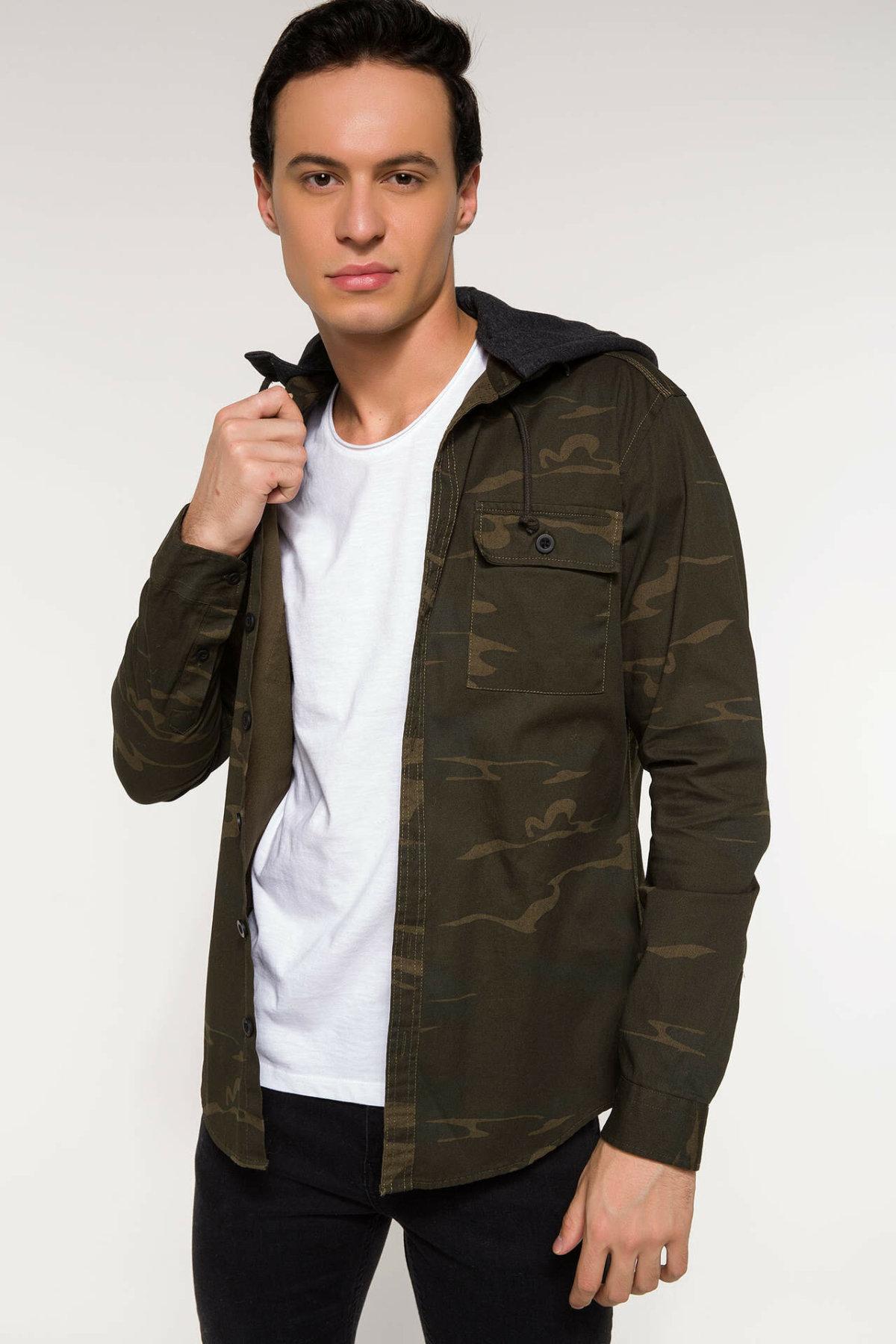 DeFacto Men Fashion Camouflage Hooded Zipper Short Jacket  Men Casual Joker Coat Autumn New- I3441AZ18SP