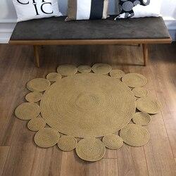 Else круглый натуральный джутовый ковер из сизаля Nomad из натурального волокна, коллекция ручной работы, натуральный джутовый ковер для дома, г...