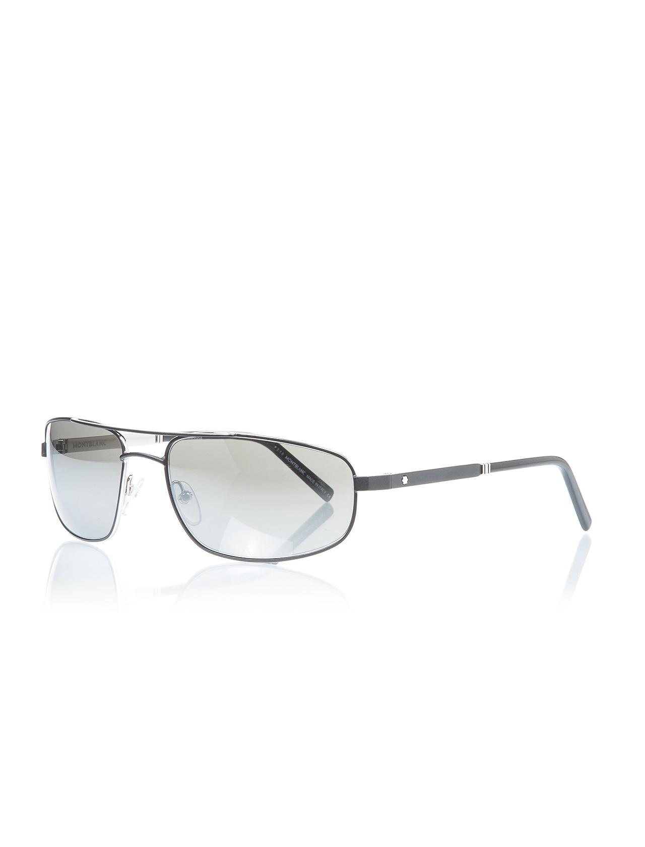 Men's sunglasses mb 650 16c metal black organic rectangle rectangular 60-17-130 mont blanc