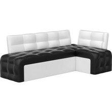 Кухонный угловой диван АртМебель Люксор эко-кожа(черно/белый) угол правый
