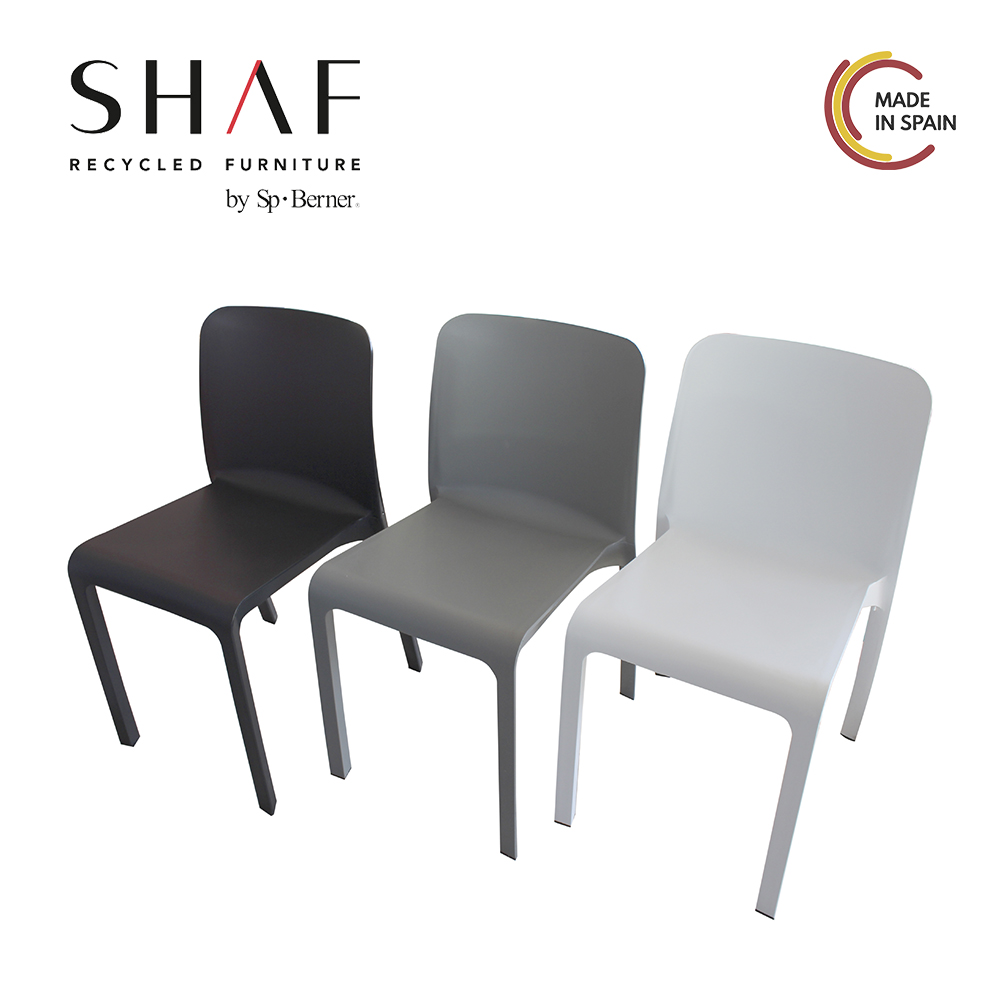 SHAF - Pack 6 Sillas Grana, in White color, Grey or Grey anthracite, ideal as chair for garden, terrace and External