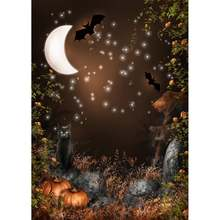 Изогнутый фон с изображением Луны черного кота тыквы Хэллоуина