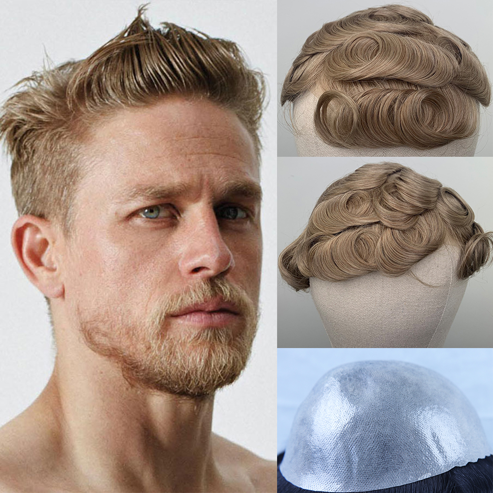 YY Wigs Blonde Human Hair Toupee For Men Brazilian Remy Hair Replacement System 8x10 Skin PU Mens Toupee Curly 6 Inch 30mm Style