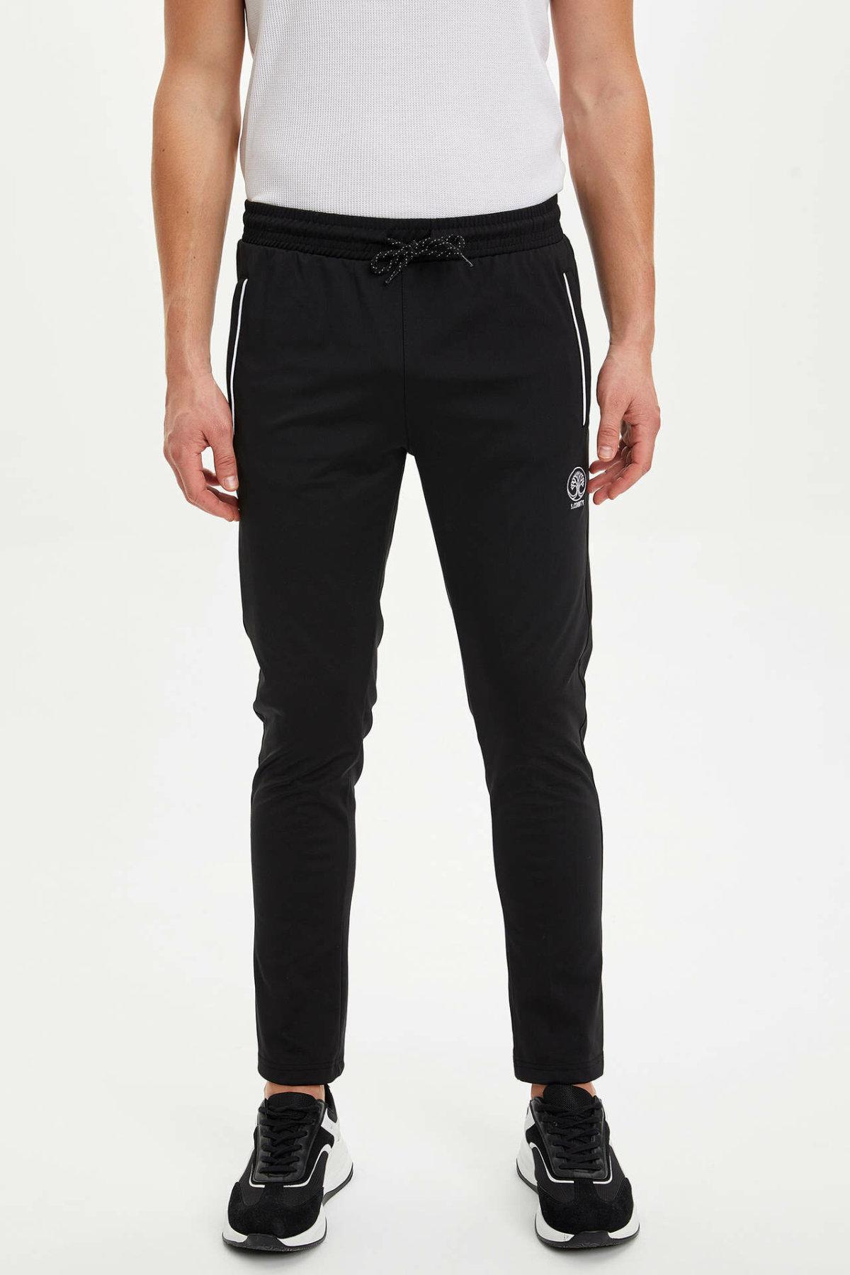 DeFacto Man Autumn Casual Black Long Pants Men Lace-up Bottoms Male Sports Pants Men Striped Trousers-M8362AZ19AU