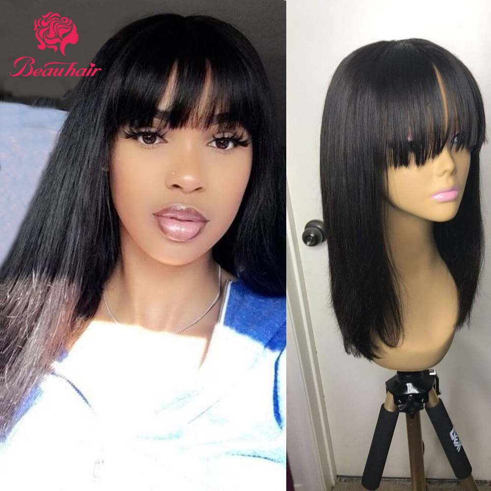 Brazilian Straight Human Hair Wigs With Thick Bangs Short Bob Wig  8