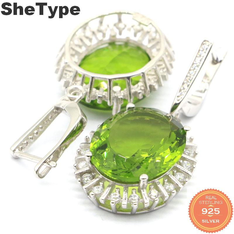 40x20mm Gorgeous 12.5g Created Oval 18x15mm Green Peridot Natural CZ Gift For Woman's 925 Solid Sterling Silver Earrings