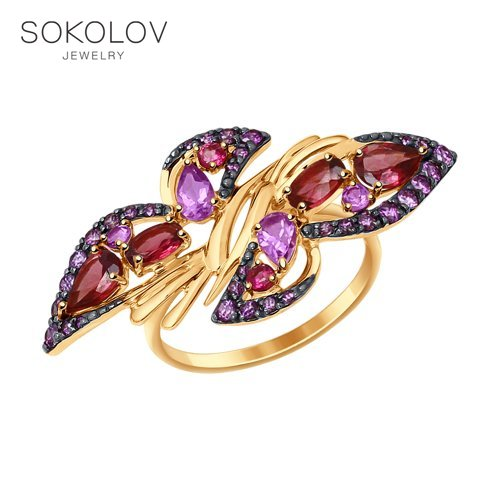 SOKOLOV Ring Gold With A Mix Of Stones Fashion Jewelry 585 Women's Male