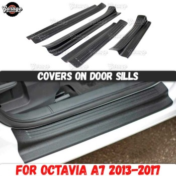 цена на Guard covers on door sills for Skoda Octavia A7 2013-2019 ABS plastic pads accessories protective plates scratches car styling
