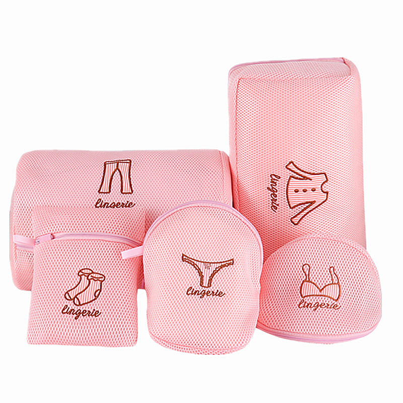 Pink Embroidery Underwear Laundry Pouch Zippered Mesh Net Bra Socks Washing Bag Foldable Travel Portable Dirty Laundry Bags