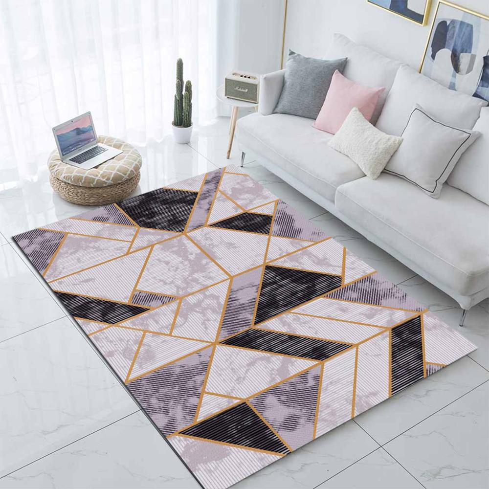 Else Black Gray Marble Yellow Lines Scandinavian 3d Print Non Slip Microfiber Living Room Modern Carpet Washable Area Rug Mat