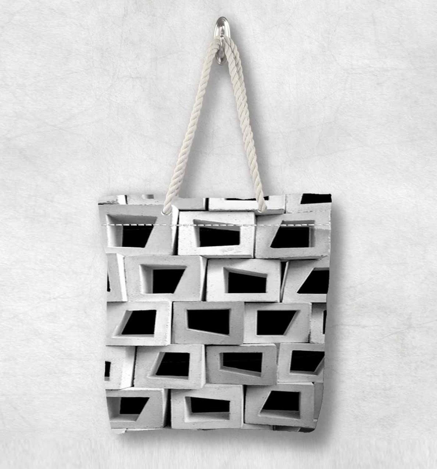 Else Black White Abstract Box Geometric New Fashion White Rope Handle Canvas Bag Cotton Canvas Zippered Tote Bag Shoulder Bag