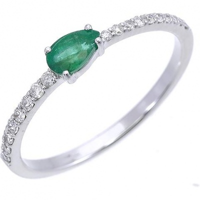 Sargon Jewelry Emerald Ring With White Gold Diamonds
