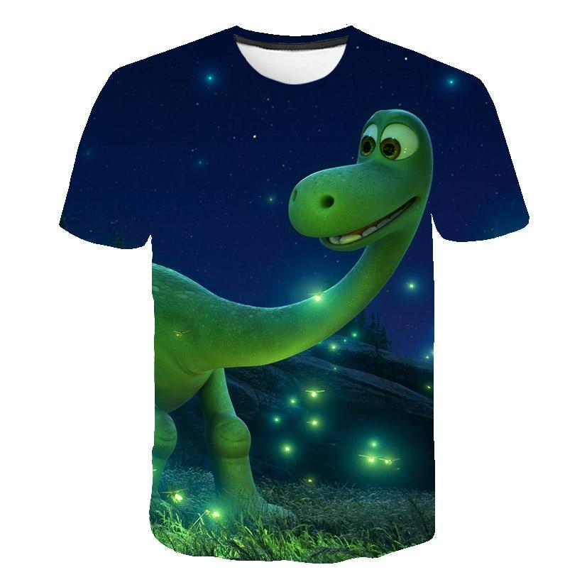 Новинка 2020, футболка для девочек с 3D принтом из мультфильма, модная детская одежда в западном стиле Сычуань, футболка для мальчиков с диноза...