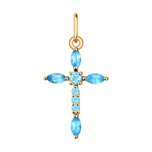 Cross SOKOLOV Gold With Topaz Fashion Jewelry 585 Women's Male