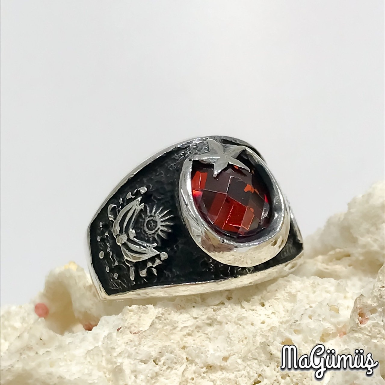 Classic The Moon The Stars Red Tuğra Ottoman Rigging Silver Men 'S Ring