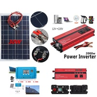 12V 30W Solar System Kit Solar Panel 12V 24V Inverter with Controller Semi Flexible Solar Battery for Car Boat Emergency Lights