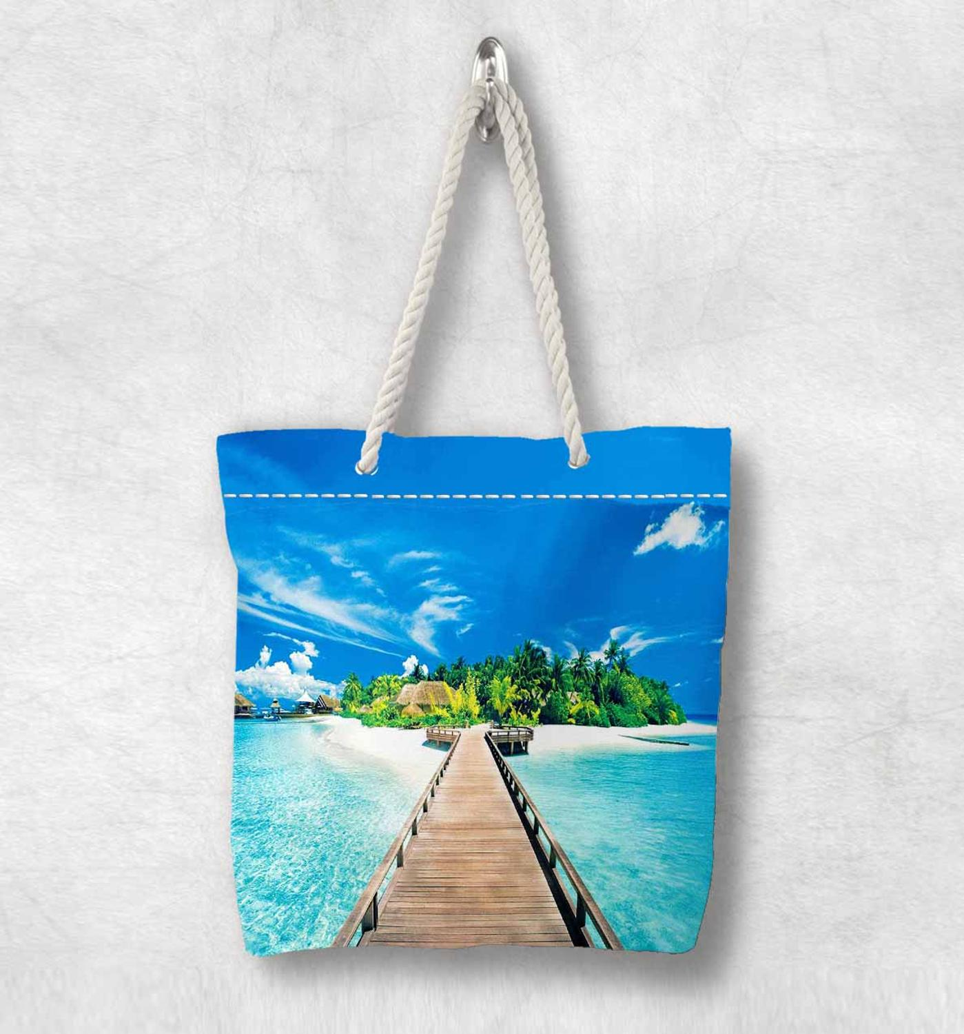 Else Blue Sky Tropical Island Wood Bridge New Fashion White Rope Handle Canvas Bag Cotton Canvas Zippered Tote Bag Shoulder Bag