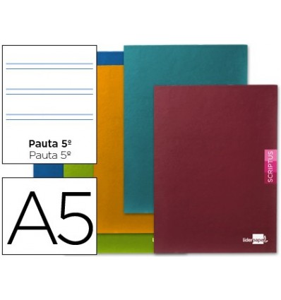 NOTEPAD LEADERPAPER SCRIPTUS A5 + 48 SHEETS 90G/M2 PATTERN 5th 2,5MM MARGIN 5 Pcs
