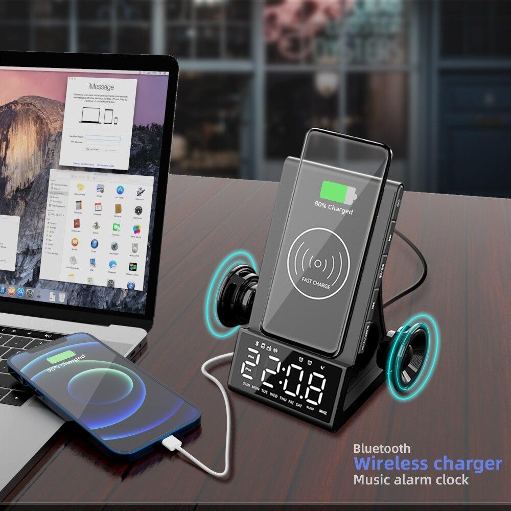 Carregador sem fio despertador bluetooth alto-falante led inteligente digital relógio de mesa eletrônico relógios rádio fm usb carregador rápido