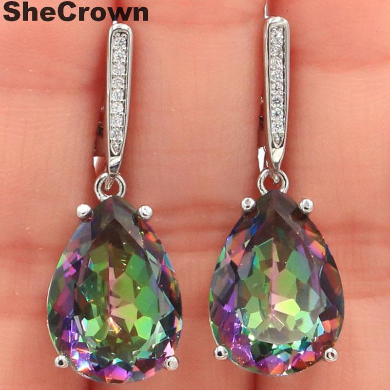 43x19mm Big Gemstone 20x15mm Color Changing Alexandrite /& Topaz Silver Earrings