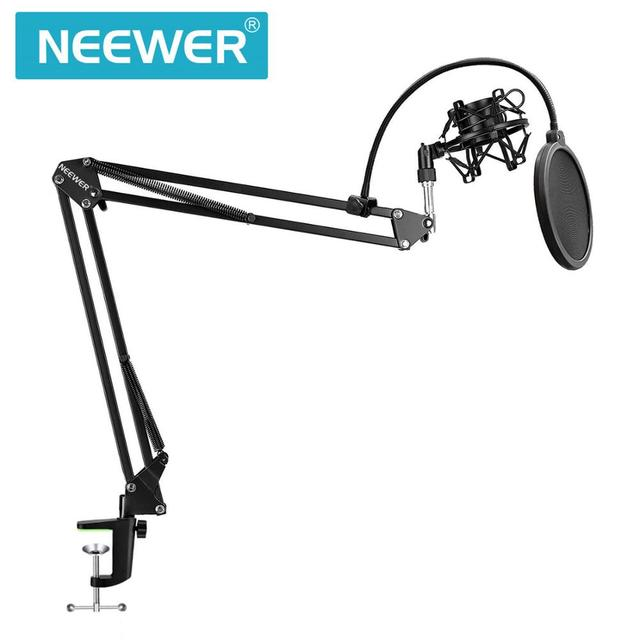 Neewer NB 35 Microphone Scissor Arm Stand Mic Clip Holder and Table Mounting Clamp&NW Filter Windscreen Shield & Metal Mount Kit