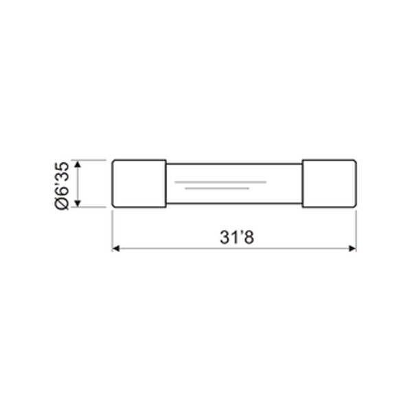 Pack de 100 uds Fusibles de Cristal de 6.3 x 32 mm de 0.125 A Electro Dh 06.115/F/0.125 8430552042821