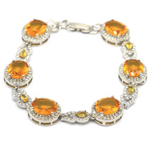 32x14mm Stunning Created Golden Citrine Natural CZ Woman's Party Silver Bracelet 7.5-8.5in