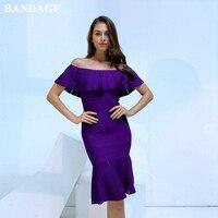 BANDAGE Autumn Off Shoulder Black Purple Navy Blue Ruffles Bandage Dress Women Vestidos Elegant Celebrity Evening Party Dress