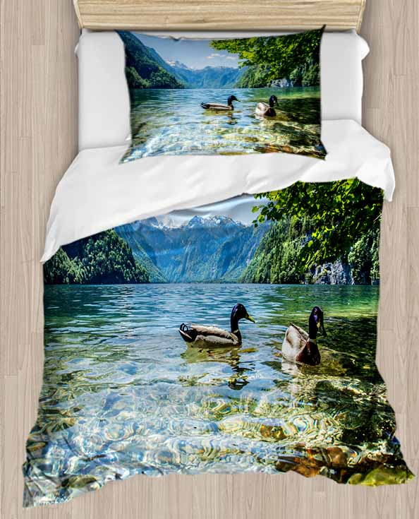 Else Green Trees Blue Lake on Ducks Wiev 4 Piece 3D Print Cotton Satin Single Duvet Cover Bedding Set Pillow Case Bed Sheet|Duvet Cover| |  - title=