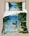 Else Green Trees Blue Lake on Ducks Wiev 4 Piece 3D Print Cotton Satin Single Duvet Cover Bedding Set Pillow Case Bed Sheet