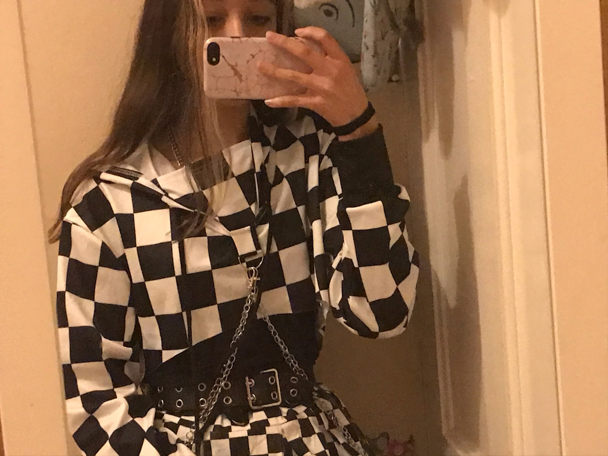 Harajuku Hoodie Crop Top  with chains photo review