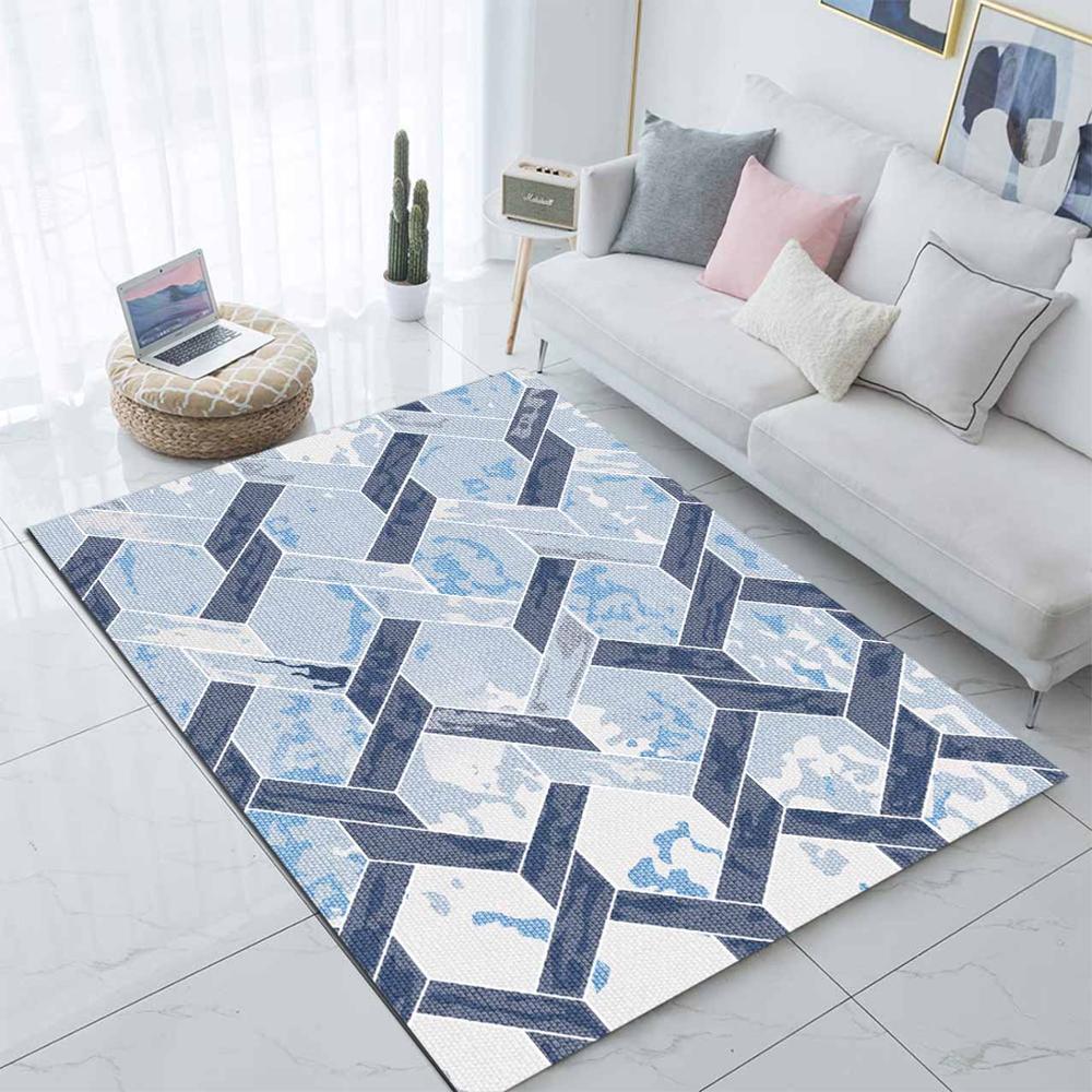 Else Navy Blue Ogee Watercolor Nordec Scandinavian 3d Print Non Slip Microfiber Living Room Modern Carpet Washable Area Rug Mat