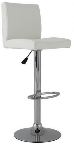 Stool ALBANO (L), Chrome, Upholstered White