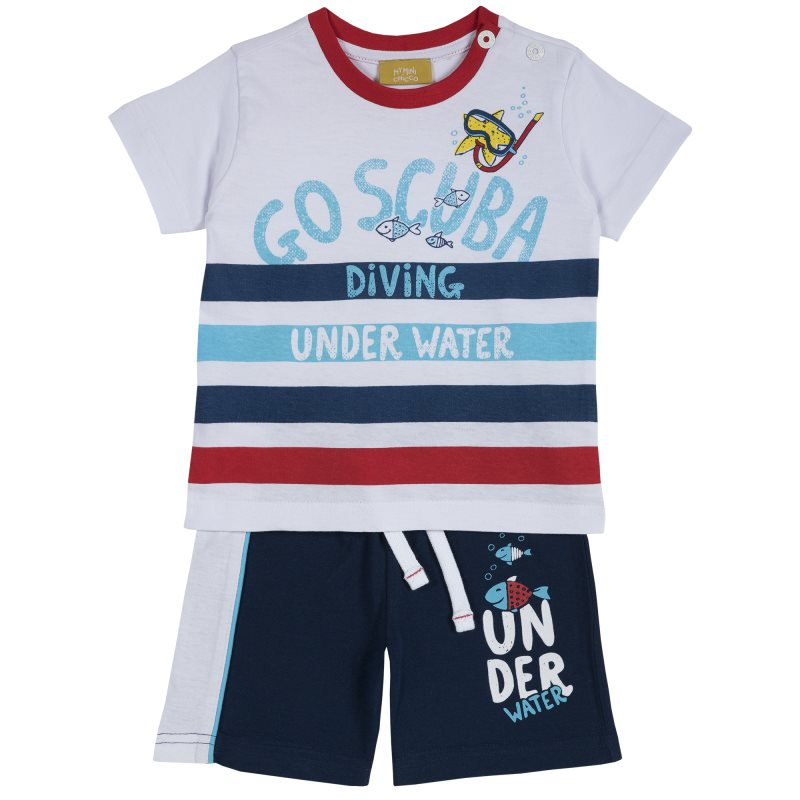 Set T shirt and shorts Chicco, size 086, print diving (multicolor) plus size letter print striped t shirt
