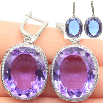 Luxury Top Big Oval Color Changing Alexandrite & Topas CZ Silver Earrings 40x20mm