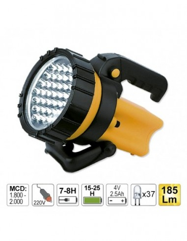 JBM 52002 FLASHLIGHT HANDHELD 37 LEDS WITH RECHARGEABLE BATTERY, HANDLE AND SWIVEL HANDLE