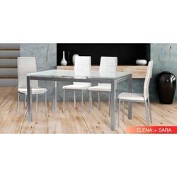 Zestaw stołowy 2 kolory i 4 krzesła sara White