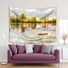 Autumn River Leaves Trees Forest Reflection Cloudy Sky Landscape in Grey Yellow Green Oil Painting Art Print Tapestry()